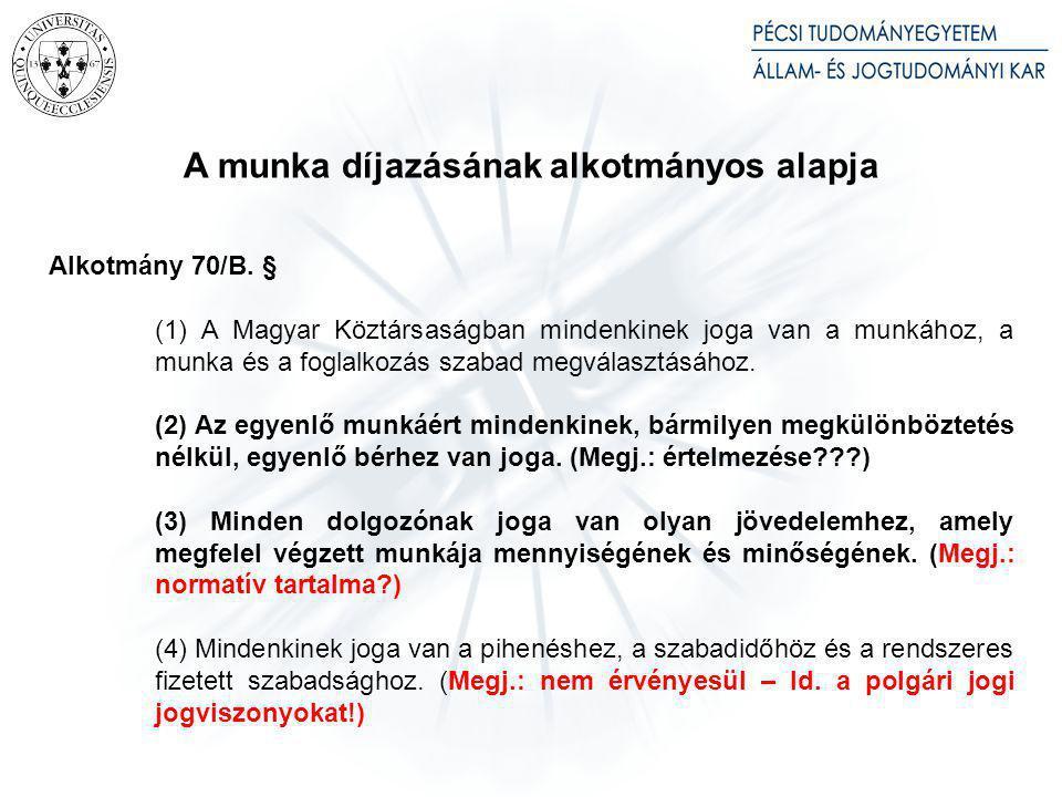 A munkaszerződés ingyenes szerződésként – a magyar munkajogban – érvénytelen [ld. Mt. 141. §, új Mt. 42. § (2) bekezdés]
